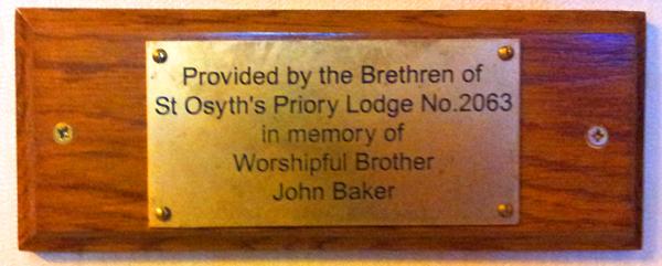 Plack to WB John Baker